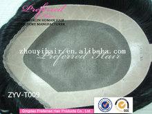 "Wholesale top quality 6"" 1# 8*9 V loop mono base 100% Brazilian human hair toupee with PU around"