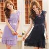 Fashion ladies flounce chiffon dress sleeveless dress pattern elegant casual dress