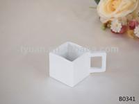 square beautiful ceramic coffee mug with handle