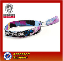 One time polyester woven wristband with metal closer
