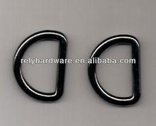 Black polished D ring decoration bag buckle