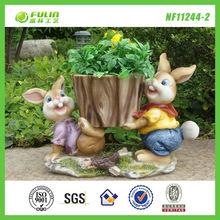 Double Rabbit Design Cute Selling Clay Flower Pots