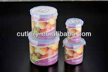 Cylindrical Plastic Food Fresh container set