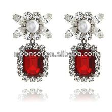 Vintage Fancy Crystal Ruby Stud Earrings