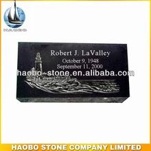 Haobo Stone Best Selling Flat Granite Grave Marker Headstone Laser Engraving