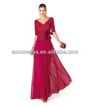 OUMEIYA OEP686 BeadedLace and Chiffon Fuchsia Evening Dress With Sleeve 2014