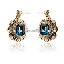 Luxury Sapphire& Ruby Drop Pearl Puddles Earrings