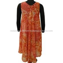 Floral Women Dress Sleeveless Georgette Summer Tunic Free Size Sundress