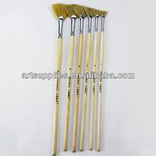 Transon wood handle fan head natural bristle hair artist brush set for oil /acrylic /gouache/water color paint, 6 pieces a set