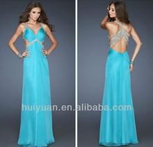 Chiffon Floor-length Halter Blue Turkish Evening Dresses