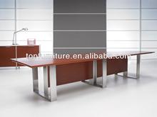 Teak Wood Veneer Office Rectangular Conference Table