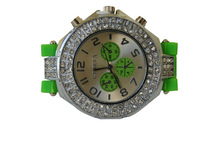 Geneva Bling Crystal Stone Quartz Ladies/Womens/Girls Jelly Silicone Wrist Watch