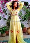 Moroccan Caftan Yellow Chiffon Fancy Embroidery Kaftan Party Dress 2013