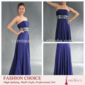 royal blue sexy strapless vestido longo