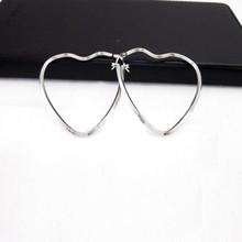 Elegant Plain Silver Dangle Love Heart Hook Earring Ear Piercing Fashion Lady