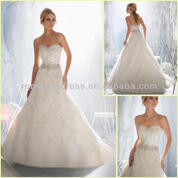 ML0260 New Arrivals Custom Made Applique A-line Skirt Organza Wedding Dress