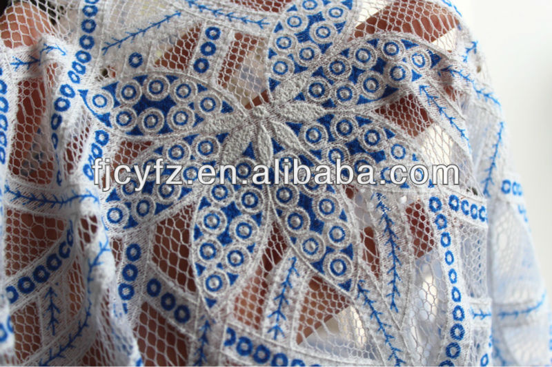 polyester cotton blend blue lace fabric
