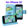 Wallet Leather Cover for iPhone 5C Case with Card Slots and Holder