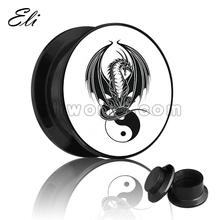 Fancy dragon with yin-yang logo plug body jewelry ear plug