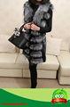 genuino bastante negro real plata natural de piel de zorro de invierno las mujeres abrigo de piel de oveja con a la venta