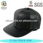 Custom Black Blank Snapback Hat Faux Leather Baseball Cap Flat Brim
