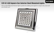 XTRONS 12V 42-LED Square White Car Interior Ceiling Roof Lights