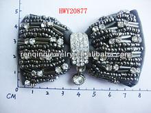 Victorian Bow Design Plastic Disc Antique Pair Beaded Shoe Clips