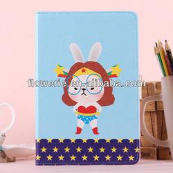 FL2937 2013 Guangzhou new arrival glasses bunny rabbit leather flip case for ipad mini