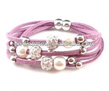 2014 Fashion purple magnetic bracelets sets ,magnetic leather fashion bracelets vners for women
