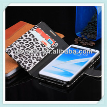 Fashion Style Leopard Leather Case,For Samsung Galaxy s4 Credit Card Case,Stand With Card Slots Case