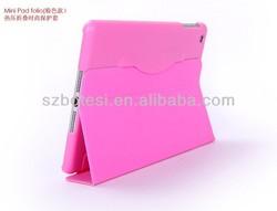 Factory for ipad mini smart case !! folding stand leather case ,stand case ,leather case with stylus holder for ipad mini