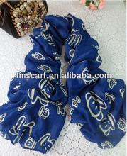 Fashion Monkey Printed Blue Cotton Scarf