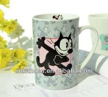 Black cat animal printed ceramic coffee cups