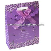 nice luxury paper food packaging bag fancy delicate cute purple shopping bag