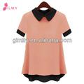 venta al por mayor ropa coreano para las mujeres dama de contraste de color modelo blusa de gasa