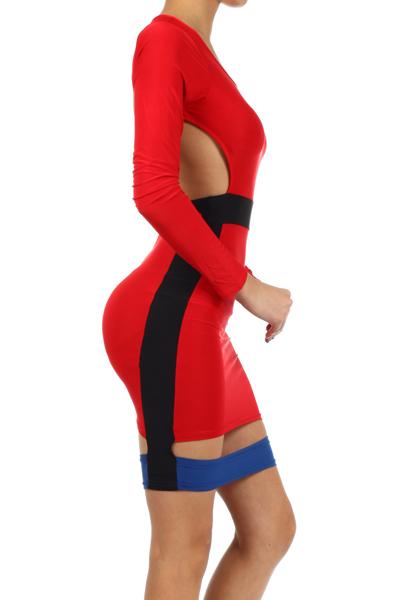 Red Open Back Bodycon Dress Colorblock Open Back Bodycon