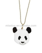 panda head shaped black and white acrylic pendant necklace,animal charm jewelry ,luck happy gift charm