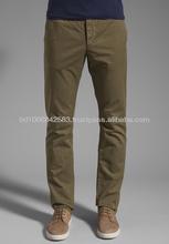 Mens pantaloni chino, olio di colore, 100% cotone o cotone/spandex