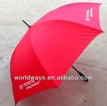 Custom promotional parasol red straight golf umbrella manufacturer, full body umbrella cost