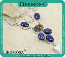 Charm Blue Lapis Lazuli White Jade Pendant Necklace 2014 Novelties 925 Silver Jewelry