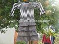 Nouveau design noir 2014 jeunesse,/blanc rayé marron avec volants en coton tricoté enfants gros robes de soirée robes