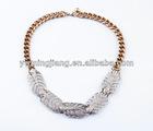 Leaf Choker Rhinestone Necklace Set with earring