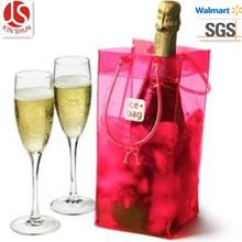 Foldable wine cooler plastic bag,Plastic cooler bag,clear PVC handbag