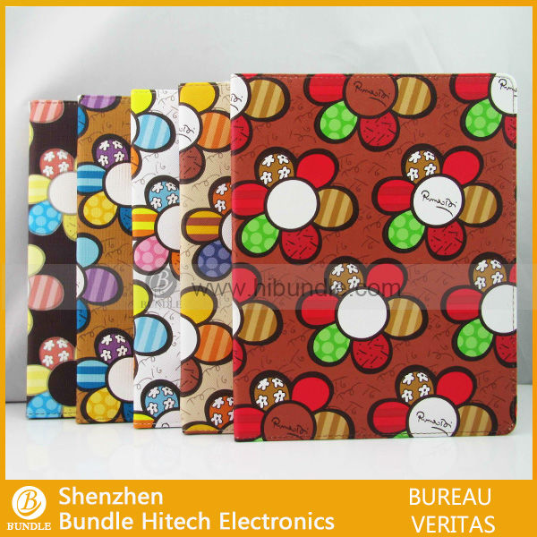 for iPad 2 leather case with flower