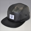 custom black plain leather snapback hats