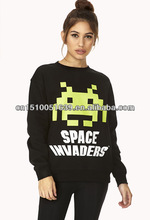 casual pattern printed sweatshirt with pockets
