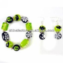 B1049 Popular Green Murano Halloween Bead Bracelet
