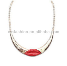 Fashion Stylish Vintage Red Lip Print Alloy Women's Choker Collar Necklace