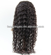 "Queen hair quality100% Unprocessed brazilian Virgin human hair,Medium size,Full lace wig, 8-34"",#1B,Color, Deep wave,Free style"