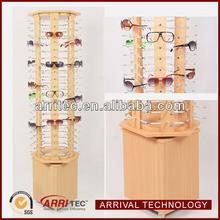 wooden sunglasses store display fixture